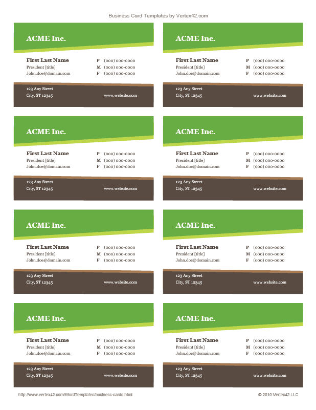 Business Card Template 8-A