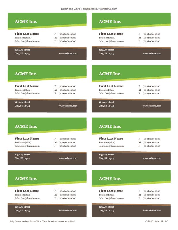 Business Card Template (Design 8-A)