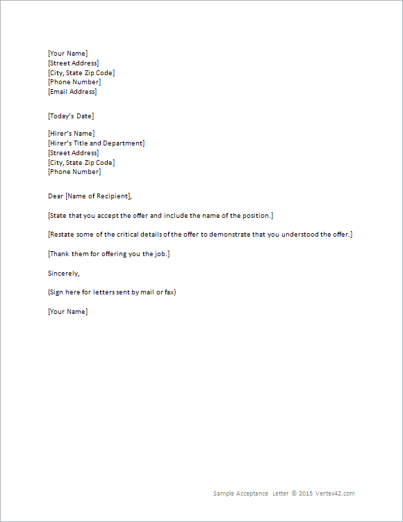 job offer acceptance letter for word job offer letter template word habbowildtk