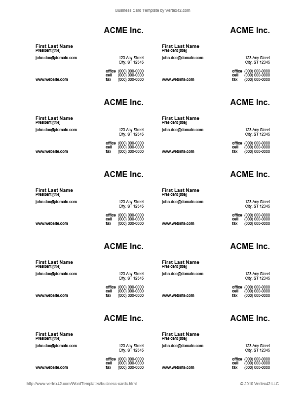 blank business card template word .