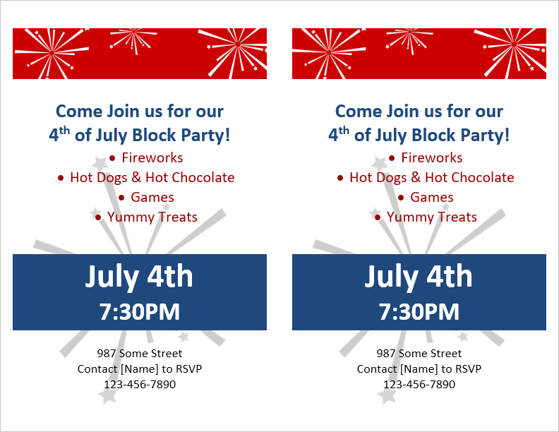 Block Party Flyer Template (2 Per Page)  Party Rsvp Template
