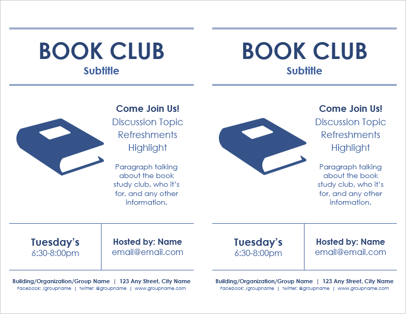 Book Club Flyer Template (2 Per Page)