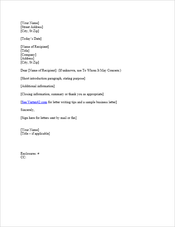 Business Letter Template for Word – Closing Business Letter Sample