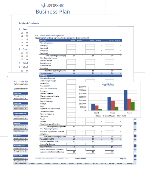 Free Business Plan Template for Word and Excel JGldPARu