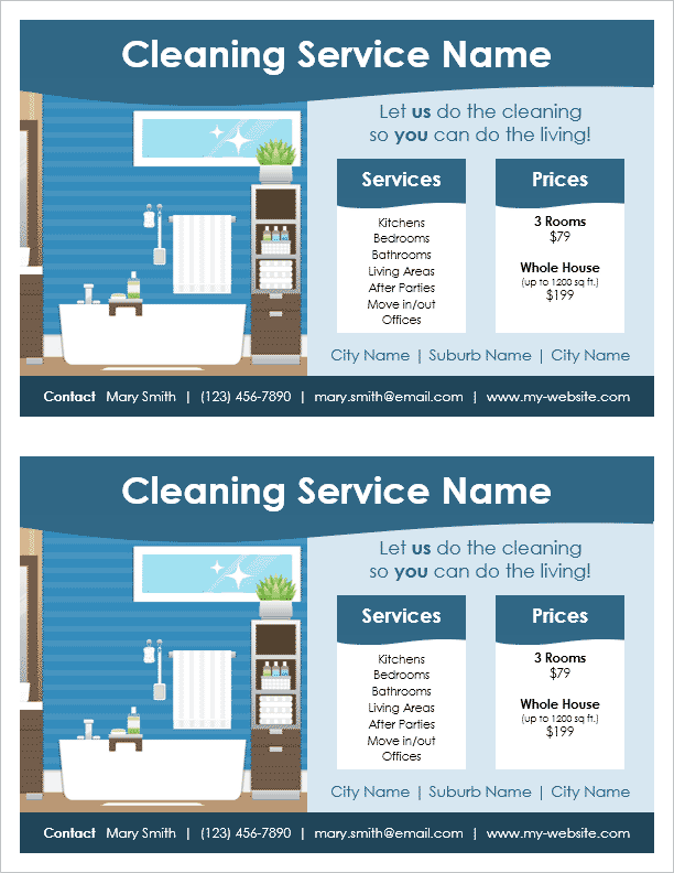 Cleaning service flyer template for word for Price my house free online
