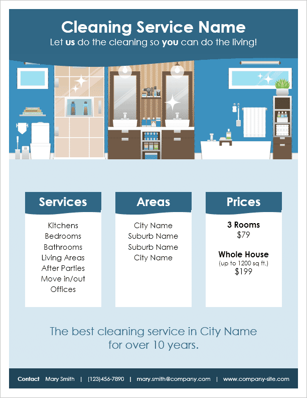 Cleaning Service Flyer Template For Word .