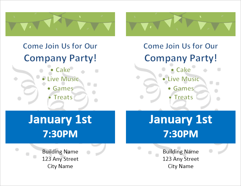 party flyer template for word