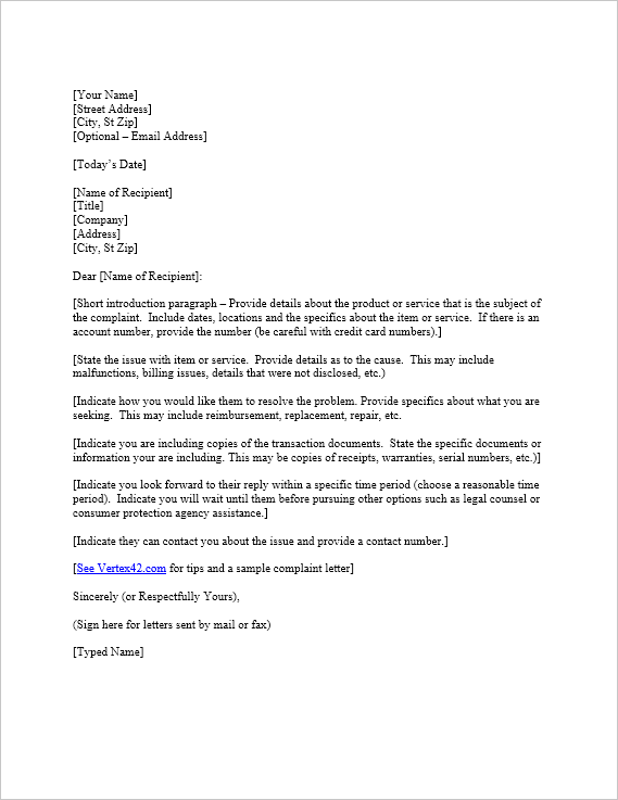 Free complaint letter template sample letter of complaint complaint letter template spiritdancerdesigns Image collections