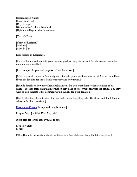 Free Request for Donation Letter Template – Donation Letters