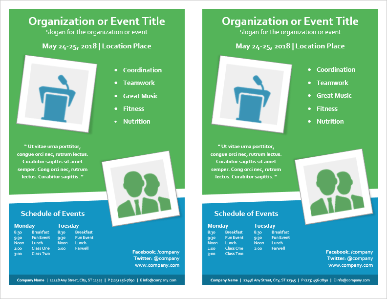 Event flyer template for word for Template for schedule of events