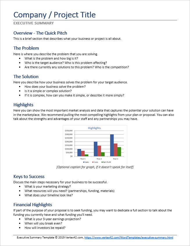 Preview of an Executive Summary Template for Word