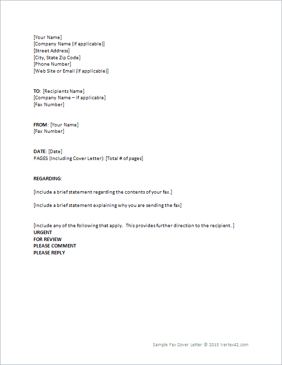 Fax Cover Letter Template for Word – Fax Coverletter