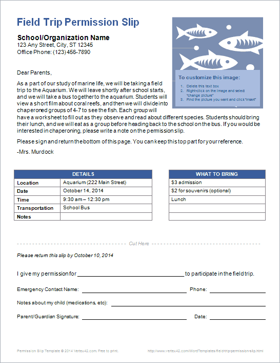 Field Trip Permission Slip Template – Permission Slip Template
