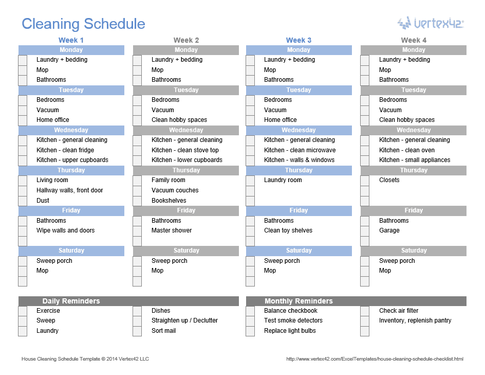 House Cleaning Schedule