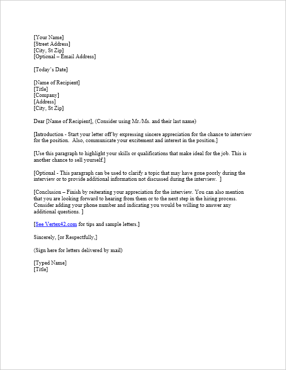 free interview thank you letter template samples