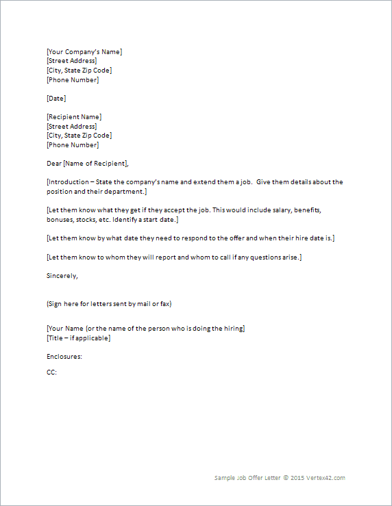 Job offer letter template for word job offer letter altavistaventures Images