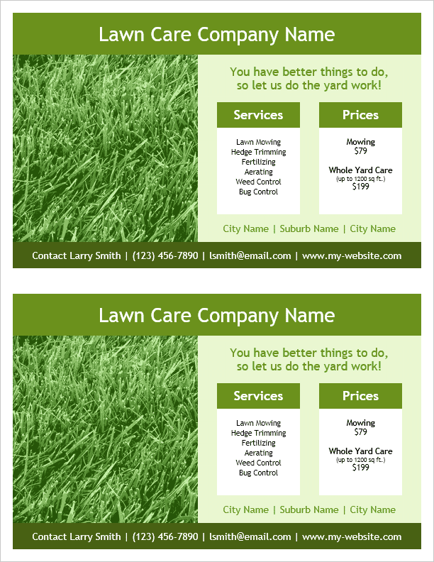 lawn care flyer template 2 per page