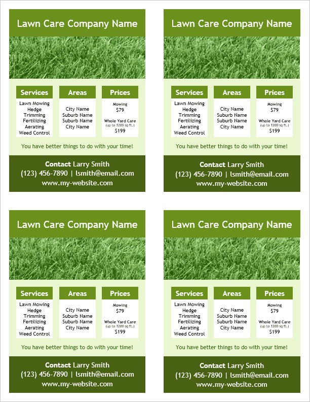 Lawn Care Flyer Template - 4 Per Page