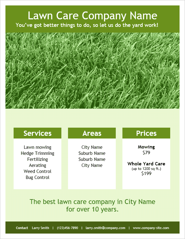 Lawn care flyer template for word for Garden maintenance flyer template