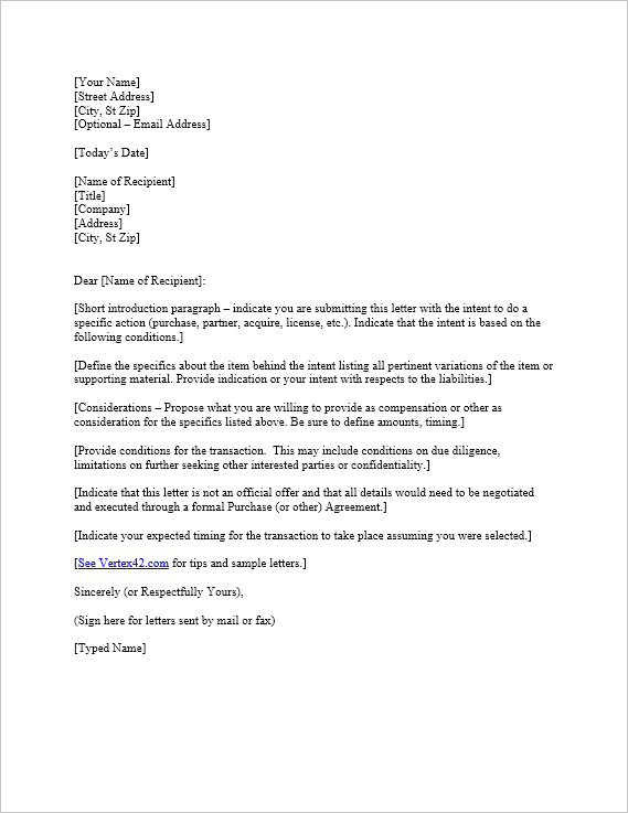 Loi Template Prepossessing Free Letter Of Intent Template  Sample Letters Of Intent