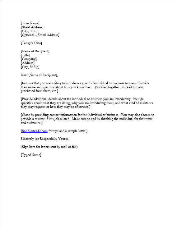 letter of introduction download a free sample