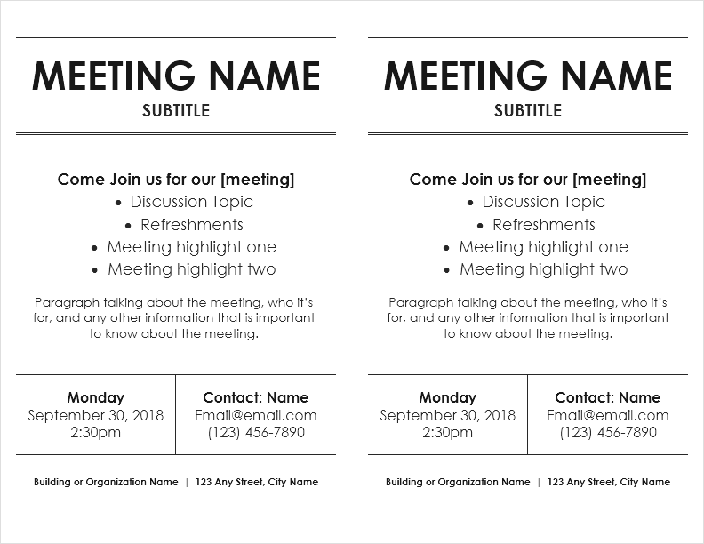 Meeting Flyer Template (2 Per Page)