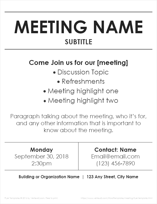Meeting Flyers  Flyer Outline