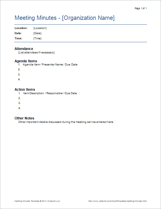 Meeting minutes templates for word for Free minutes template for meetings