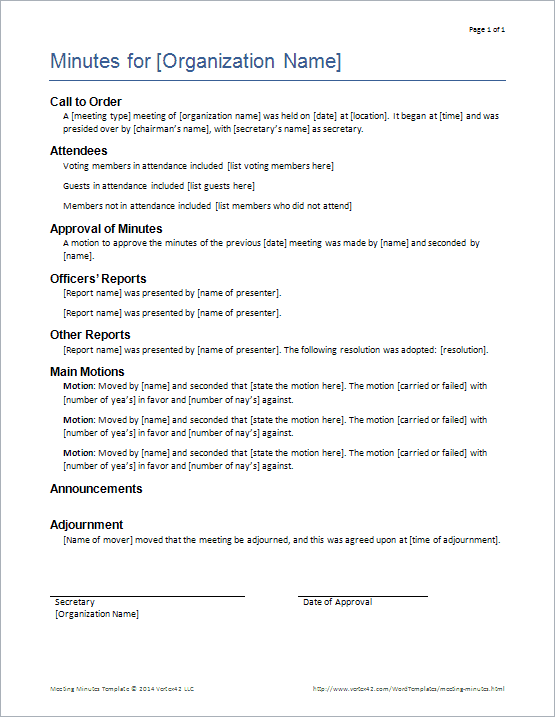 Formal Meeting Minutes Template Using Robertu0027s Rules Screenshot  Minutes Templates