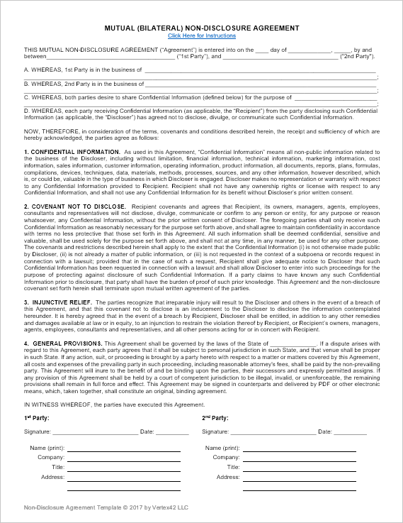 Mutual Non Disclosure Agreement Template  Mutual Agreement Format