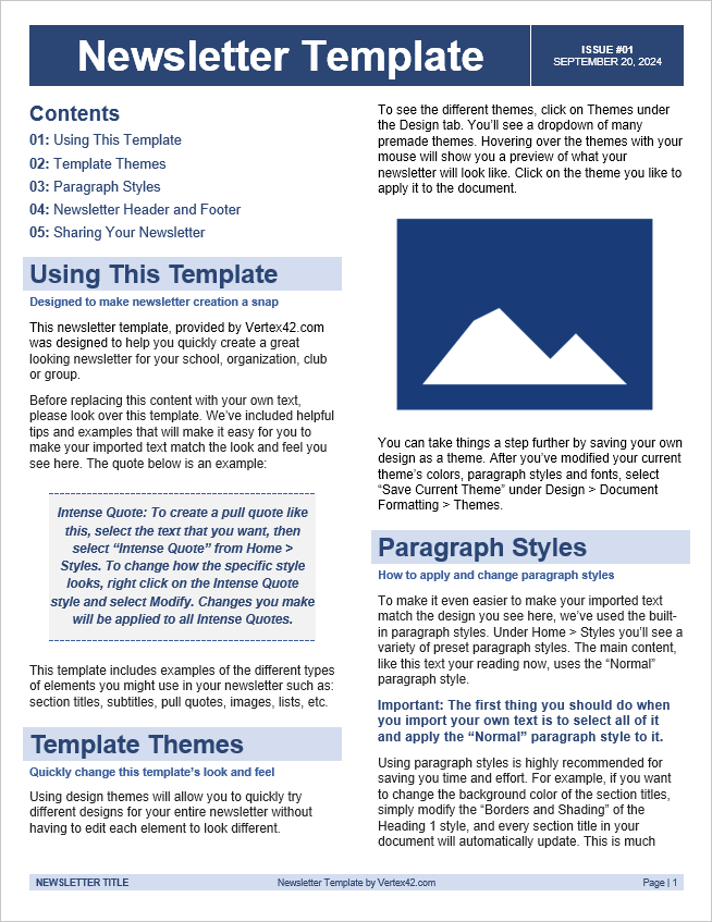 free newsletter template for word