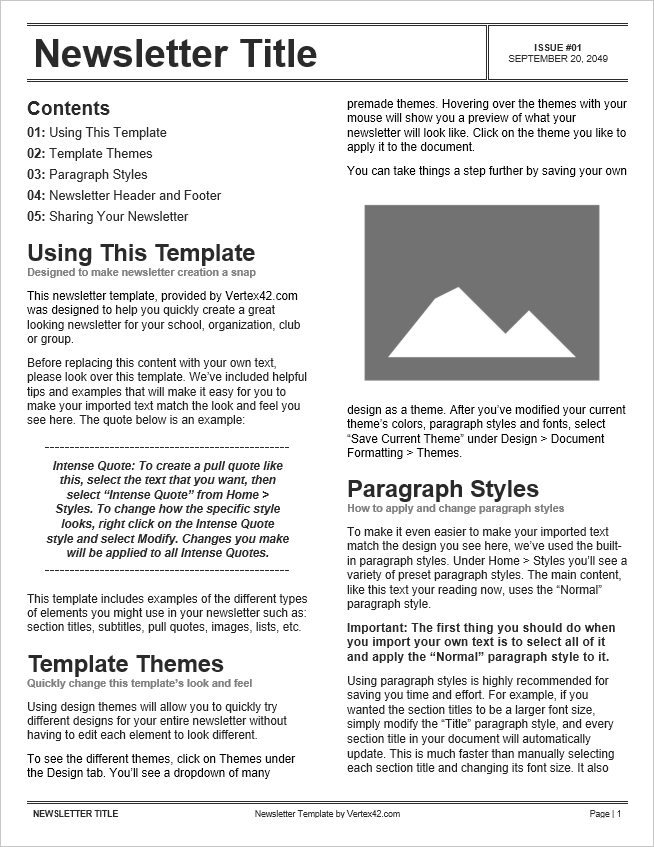 free newsletter templates for word