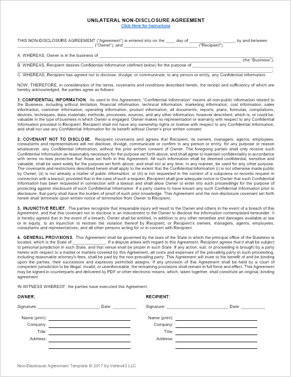NonDisclosure Agreement Template Unilateral And Mutual NDA - One page nda template