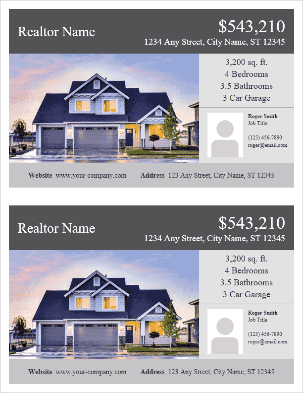 Real Estate Flyer Template   2 Per Page  Home Sale Flyer Template