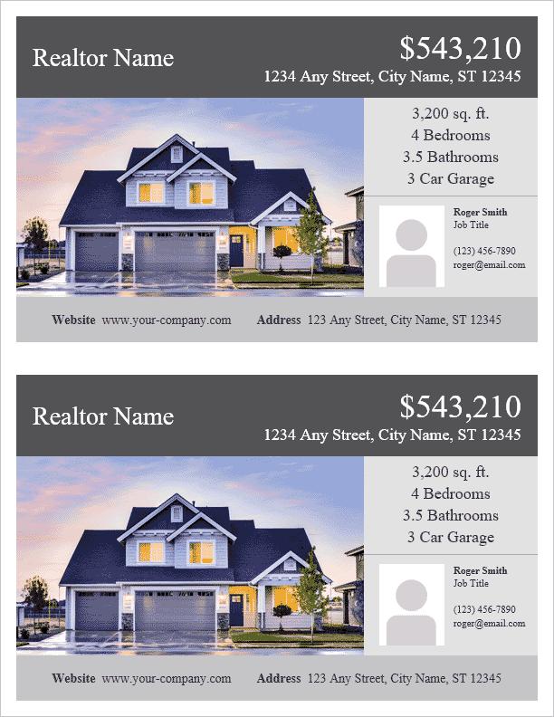 real estate flyer template for word. Black Bedroom Furniture Sets. Home Design Ideas