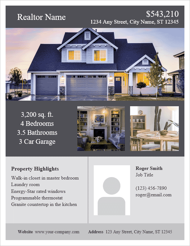 Real estate flyer template for word for House for sale brochure template