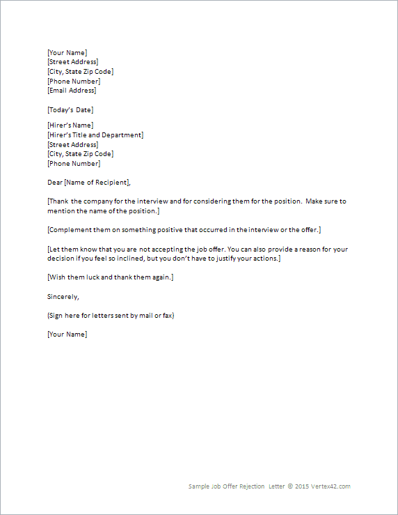 Job Offer Rejection Letter Template for Word – Rejection Letter Sample