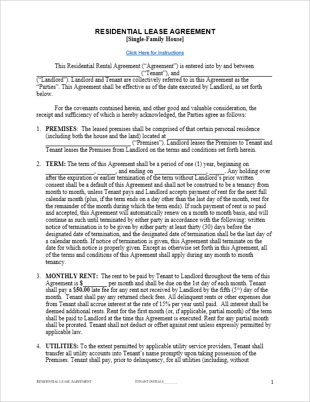 Residential Lease Agreement Template  House Rental Agreement Template