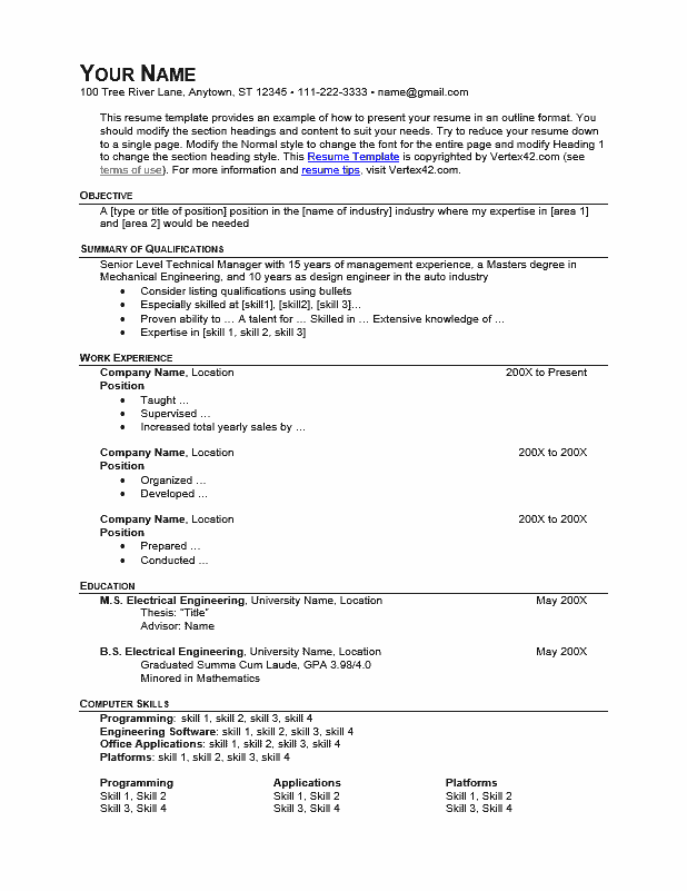 Resume Template (Outline Format)
