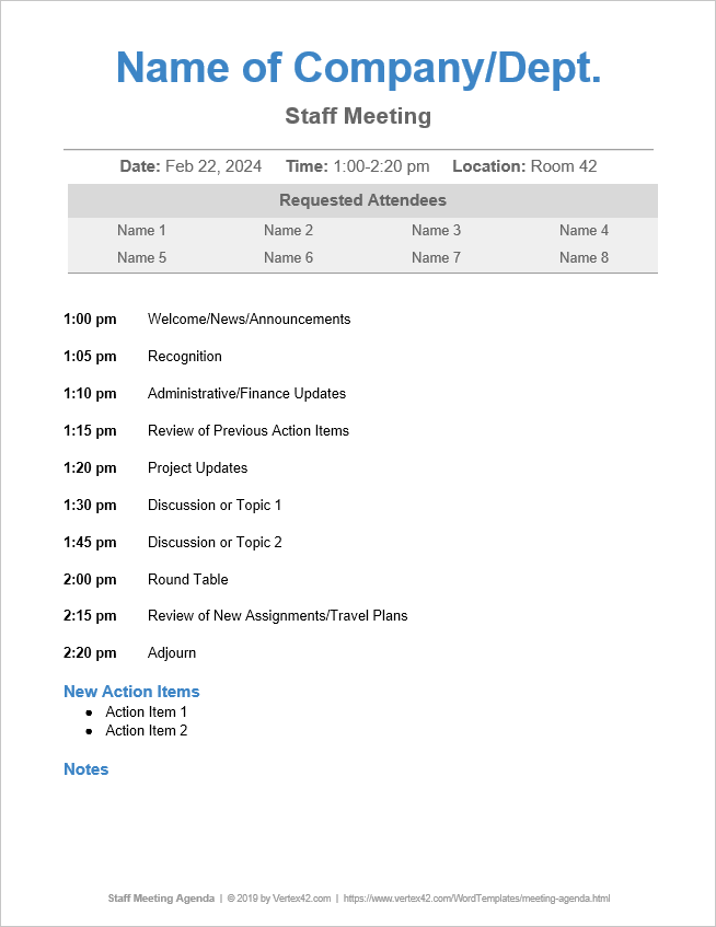 10 free meeting agenda templates