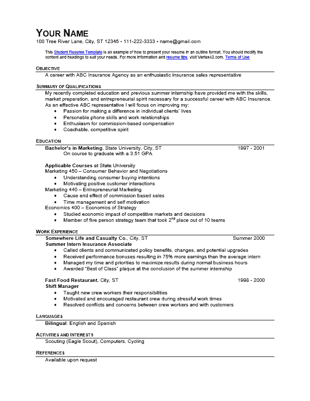 download the student resume  outline format