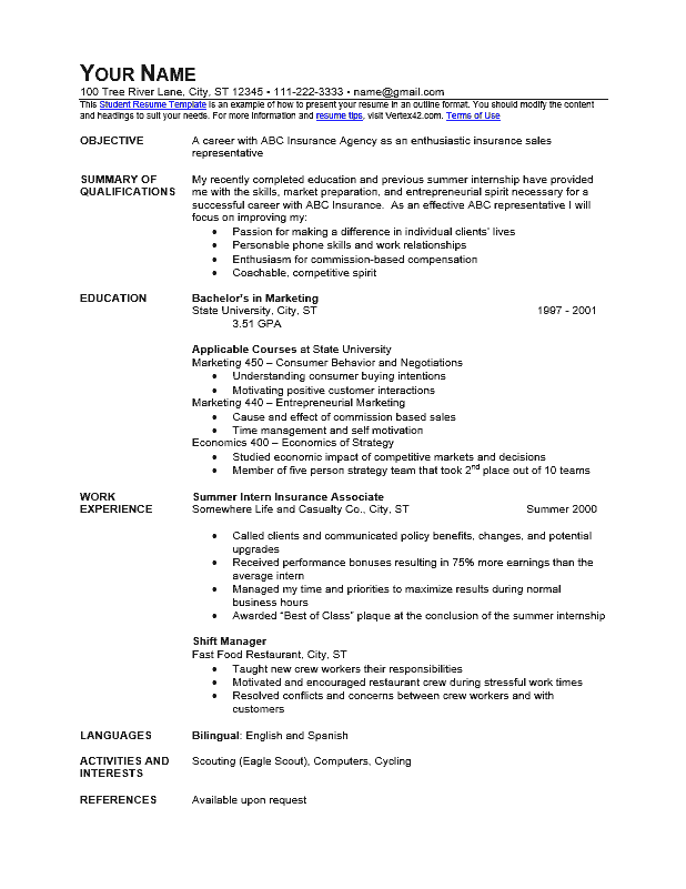 the student resume outline format