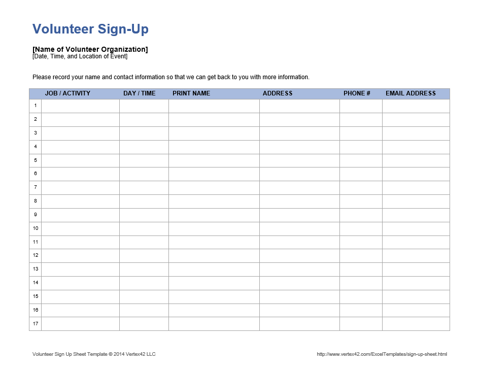 Download the Volunteer Sign Up Sheet