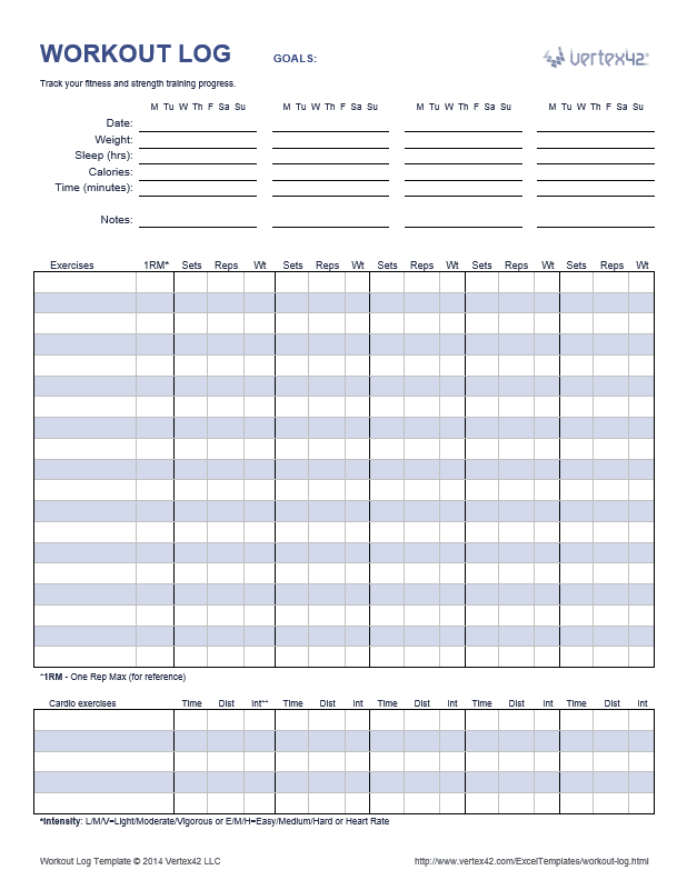 Workout Log Template
