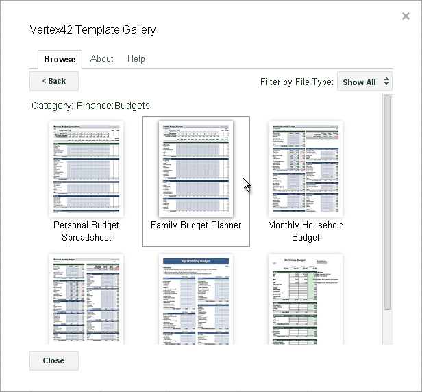 Screenshot of the Budget Templates category
