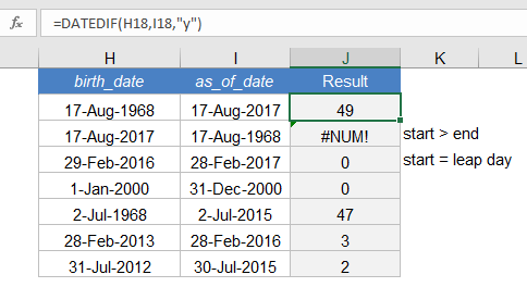 Calculate Age in Excel Using DATEDIF - Example