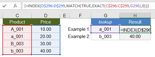 Case-Sensitive EXACT Lookup Using INDEX-MATCH