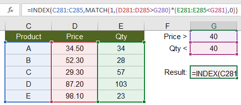 INDEX-MATCH with Multiple Non-Exact Criteria