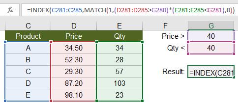 INDEX-MATCH with Multiple Non-Exact Criteria