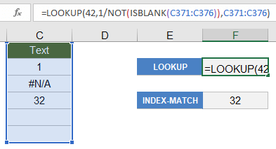 Return the Last Non-Blank Value Using LOOKUP